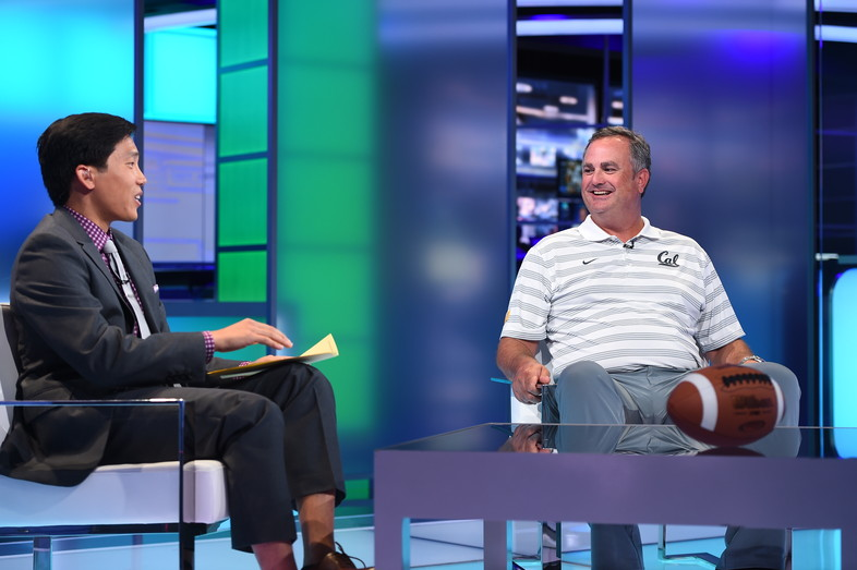 Cal's Sonny Dykes soaks up the spotlight on SportsCenter during his visit to ESPN in Bristol, CT.