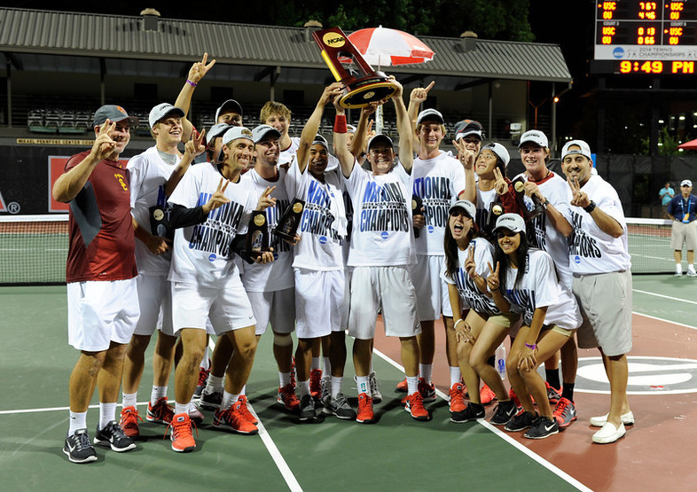 The USC men's tennis team helped the Pac-12 sweep the NCAA tennis titles after winning its fifth men's tennis championship in six years. It also gave the Trojans their 100th national title, making USC only the third school in the nation with 100 or more.