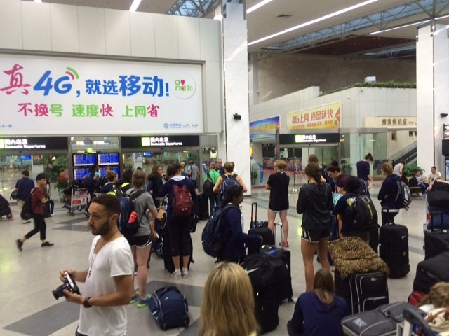 The all-stars wait to be whisked away to Beijing.