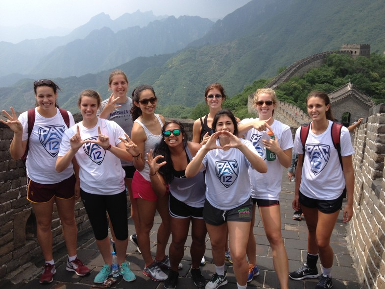 After conquering the Great Wall of China, the Pac-12 all-stars represent for their schools.