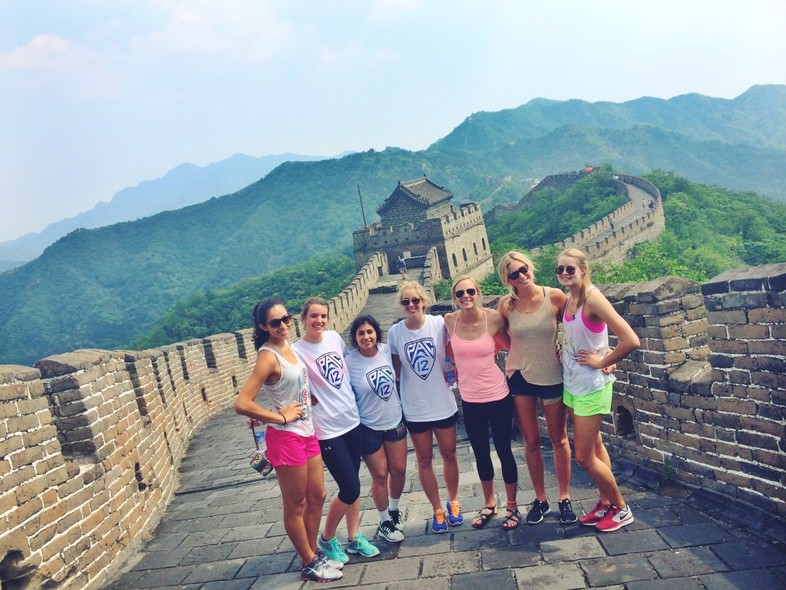 Some of the Pac-12 Women's Volleyball All-Stars pause for a picture during their visit to the Great Wall of China.