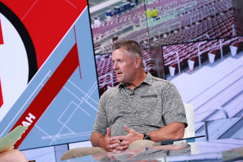 Utah's Kyle Whittingham answers questions while on the SportsCenter set in Bristol, CT.