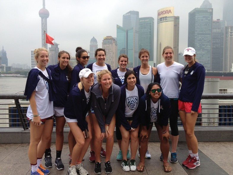 <p>The Pac-12 all-star team gathered for a quick group shot in front of the Shanghai skyline Tuesday afternoon.</p>