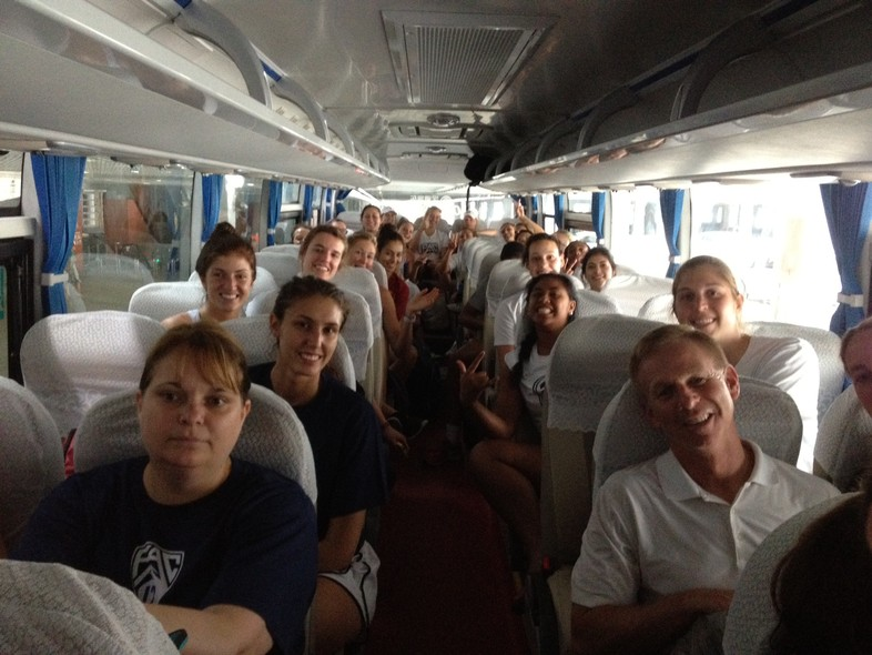 <p>Even after a long intercontinental flight, the Pac-12 all-star team was all smiles as they traveled by bus through Shanghai Tuesday.</p>