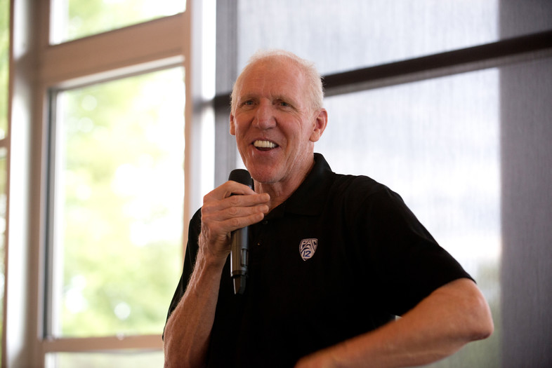 Bill Walton smiles while answering a question during Tuesday's reception at the Conibear Shellhouse at the University of Washington.