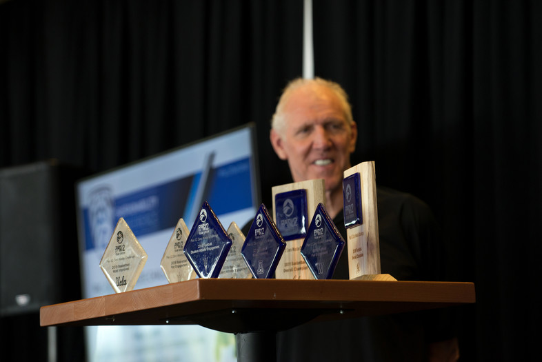 Hall of Famer Bill Walton was in attendance to pass out awards for the Zero Waste Challenge in football and men's basketball.