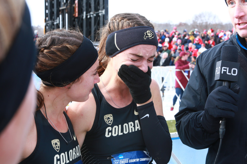 Dani Jones fights to hold back emotions after grabbing Colorado's first individual cross country title since 2000 in the women's Cross Country Championship.