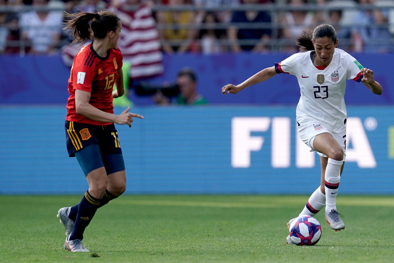 Christen Press of USA Women during the World Cup Women match between Spain vs USA at the Stade Auguste-Delaune on June 24, 2019 in Reims France.
