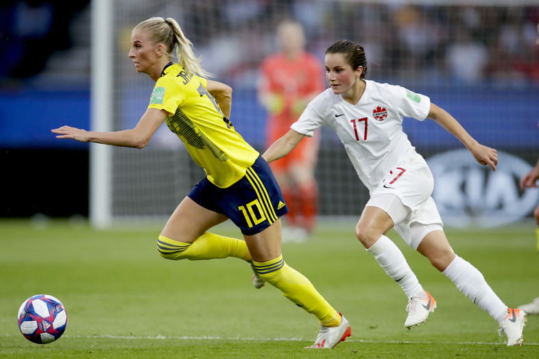Jessie Fleming of Canada Women during the World Cup Women match between Sweden v Canada at the Parc des Princes on June 24, 2019 in Paris France.