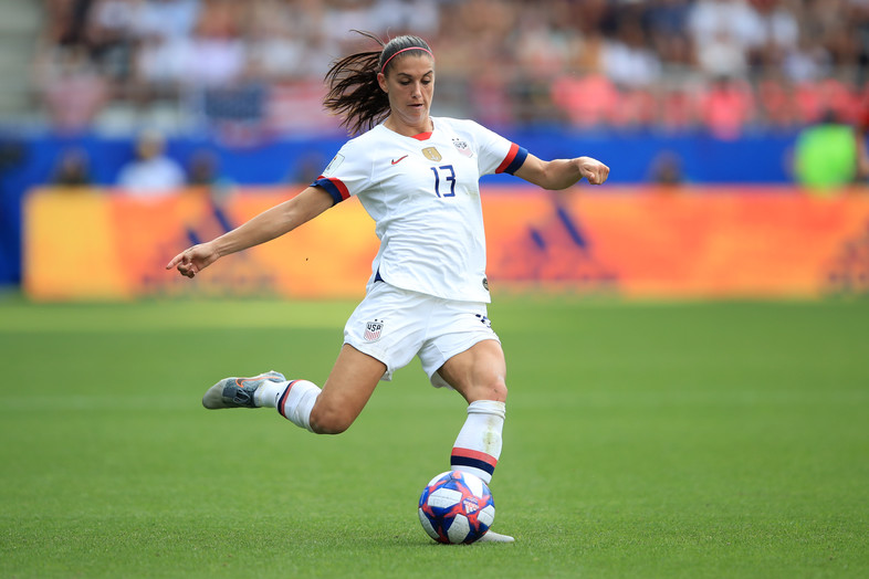 Alex Morgan of United States during the 2019 FIFA Women's World Cup France Round Of 16 match between Spain and USA at Stade Auguste Delaune on June 24, 2019 in Reims, France.