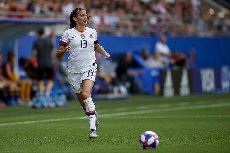 Alex Morgan of USA during the 2019 FIFA Women's World Cup France Round Of 16 match between Spain and USA at Stade Auguste Delaune on June 24, 2019 in Reims, France.