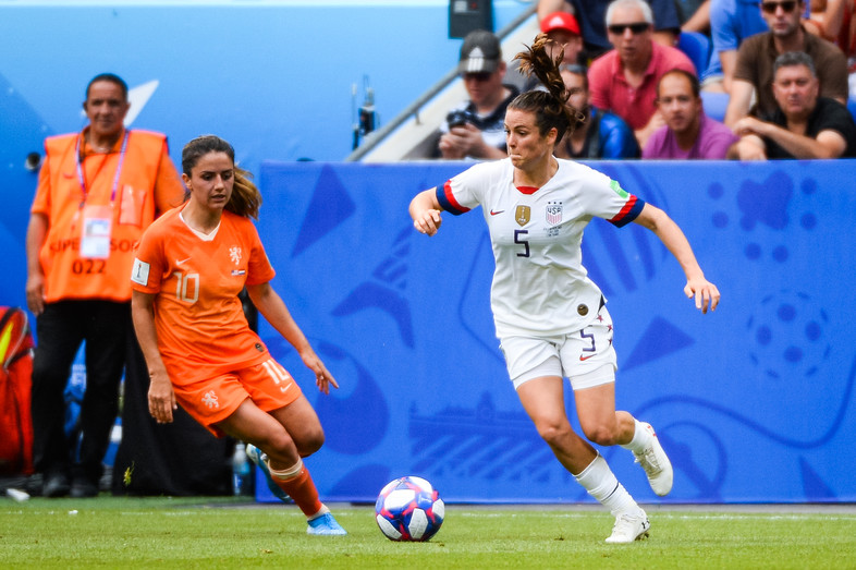 United State's defender Kelley O'Hara and Netherland's midfielder Danielle Van De Donk during the 2019 FIFA Women's World Cup France Final match between United States and Netherlands at Groupama Stadium on July 7, 2019 in Lyon, France.