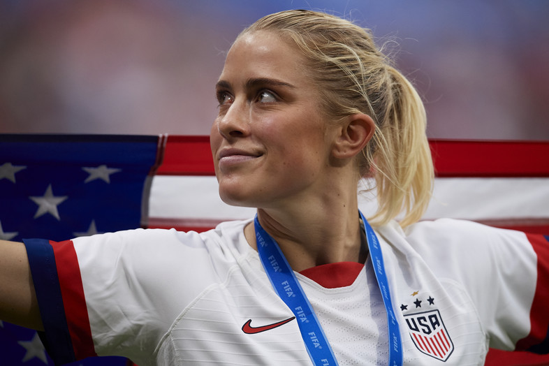 Abby Dahlkemper of United States of America celebrates after winning the 2019 FIFA Women's World Cup France Final match between The United State of America and The Netherlands at Stade de Lyon on July 07, 2019.