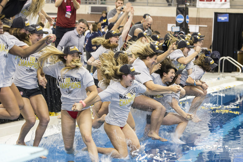 Cannon ball! Celebration ensues after Stanford put on a dominant performance from start to finish to claim its second consecutive NCAA title.