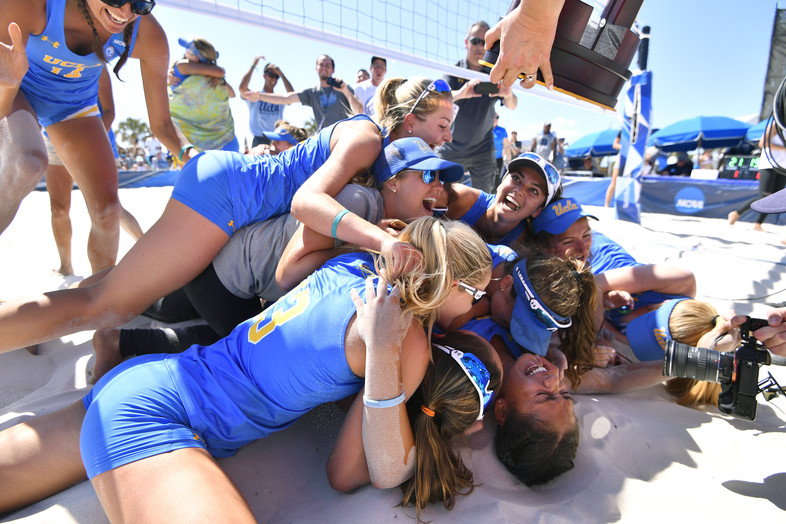UCLA women's beach volleyball soaks in sweet victory after taking down Florida State 3-1 for the national title.
