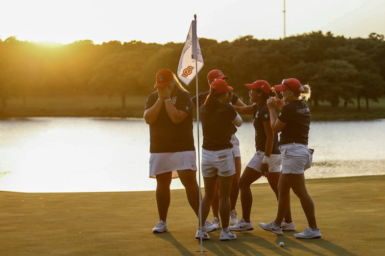 The sun sets on a memorable 2018 women's golf season for Arizona. Haley Moore's incredible birdie putt on the 19th hole lifted Arizona over Alabama and clinched the Wildcats' third national team title.