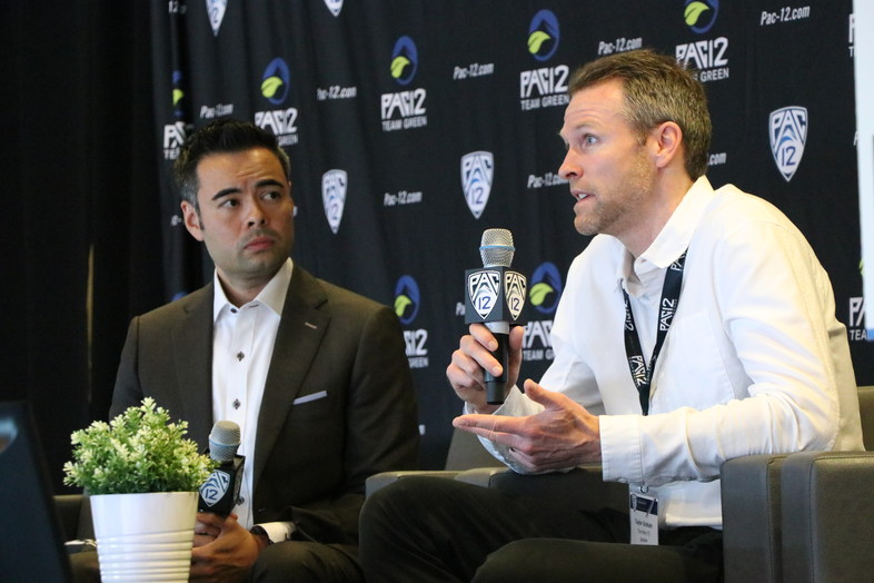 Pac-12 Networks' Mike Yam and Seattle Sounders Vice President of Business Operations & Marketing Taylor Graham discussed sports climate action leadership during a panel on the main stage.