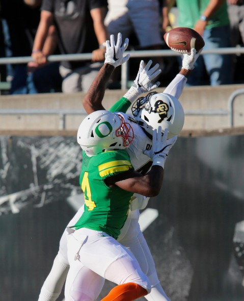 """<p>SEPTEMBER - The Rise is real. Colorado football began their worst-to-first journey in the Pac-12 with <a href=""""http://pac-12.com/videos/highlight-colorado-footballs-bryce-bobo-makes-spectacular-one-handed-td-catch-beat-oregon"""" target=""""_blank"""">a huge 41-38 win over Oregon</a>, their first victory over the Ducks since 2011.</p>"""