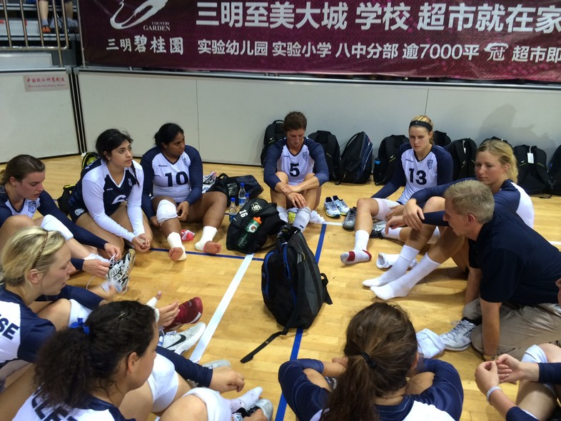 """<p>Pac-12 head coach Jim Moore chatted with the playersfollowing their <a href=""""http://pac-12.com/article/2014/06/18/despite-long-journey-pac-12-volleyball-all-stars-win-first-match"""" target=""""_blank"""">four-set win over Fujian</a> Wednesday in Sanming.</p>"""
