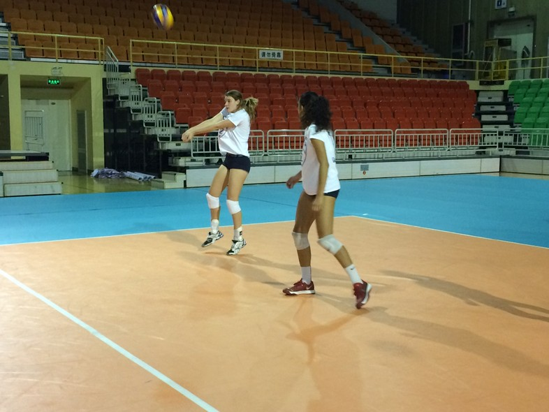 <p>Utah's Chelsey Schofield gets in some work Monday during the team's first practice since arriving in Beijing.</p>