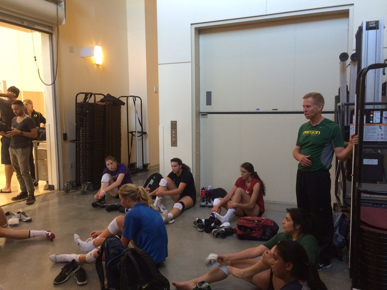 <p>Head coach Jim Moore (Oregon) gave the team some words of instruction during Saturday's practice at USC.</p>
