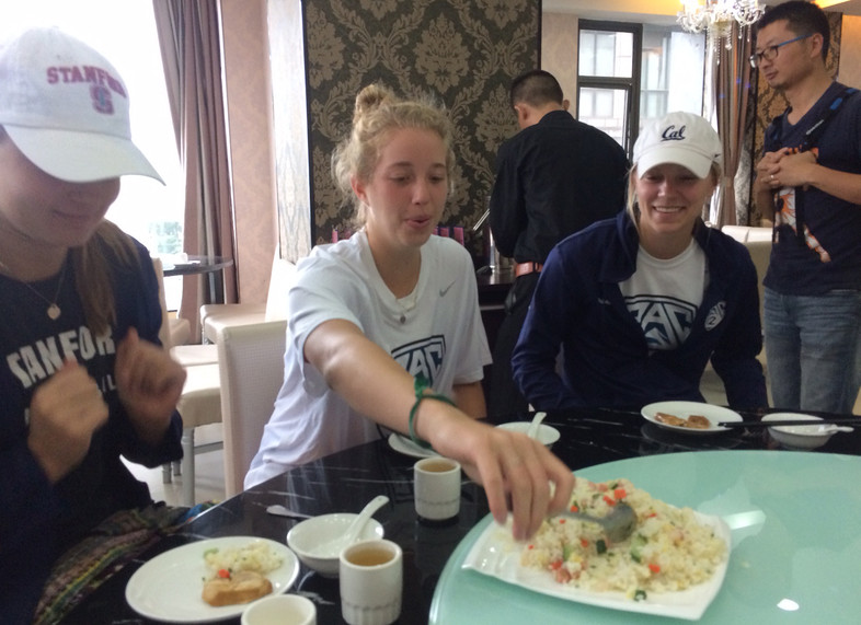 <p>Stanford's Madi Bugg and her Pac-12 teammates enjoyed some of the local food while in Shanghai on Tuesday.</p>