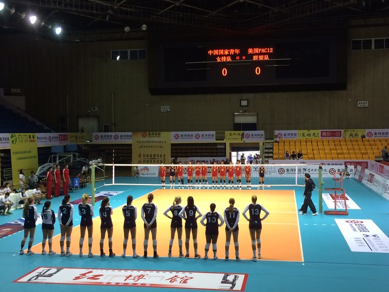 <p>The Pac-12 all-stars and Chinese Junior National Team stand at opposite ends of the court prior to Tuesday's match in Beijing.</p>