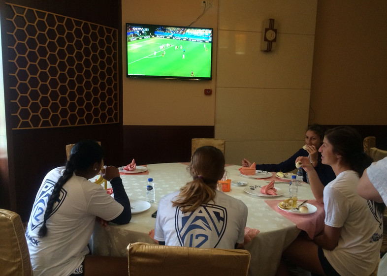 <p>Like millions of others around, a few of the players found some time to sneak a peek at the World Cup while they were eating Thursday in Sanming.</p>