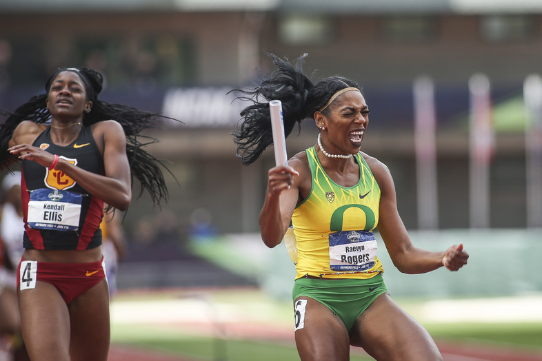 <p>Victory is sweet! Raevyn Rogers celebrates the moment she helped Oregon women's track &amp; field win the NCAA Championship, giving them the first-ever triple crown (NCAA titles in cross country, indoor track &amp; field and outdoor track &amp; field).</p>