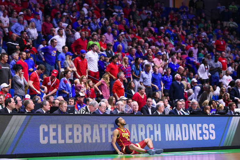 <p>Jordin McLaughlin takes it all in as 11-seeded USC upsets No. 6 SMU 66-65 during March Madness.</p>