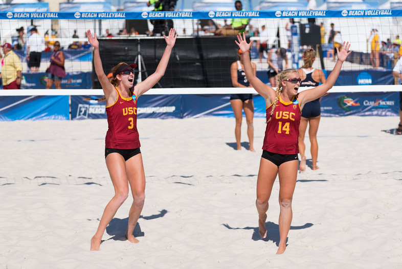 <p>Sara Hughes and Kelly Claes celebrate as USC clinches back-to-back NCAA Beach Volleyball Championships.</p>