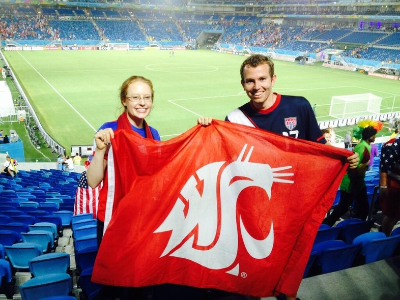 The Cougar flag goes everywhere - even the World Cup.