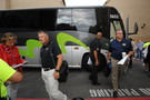 <p>Utah coach Kyle Whittingham and Cal coach Sonny Dykes arrive at Sony Pictures Studios.</p>