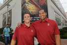 <p>Stanford's David Yankey and Shayne Skov pal around at Pac-12 Football Media Day.</p>