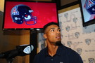Arizona wide receiver Nate Phillips takes the podium at Pac-12 Football Media Day.