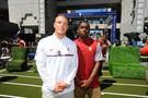 Stanford's Christian McCaffrey and USC's Adoree' Jackson hang out at Pac-12 Football Media Days.