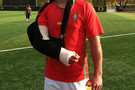 <p>The Ducks' injured Nick Wagner goes for the Cristiano Ronaldo look.</p>