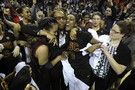 """<p>Coach Cynthia Cooper celebratedwith her players after <a href=""""http://pac-12.com/videos/highlights-usc-womens-basketball-wins-pac-12-tournament"""" target=""""_blank"""">USC won the 2014 Pac-12 Women's Basketball Tournament title</a> on March 9 in Seattle. The Trojans took down Oregon State 71-62 to win the tourney championship in Cooper's first year as head coach.</p>"""