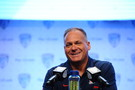 Arizona head coach Rich Rodriguez gets a good laugh in at his Media Day press conference.