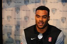 Stanford defensive end Solomon Thomas talks with reporters at Media Day.