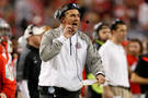 <p>Meyer firing his guys up from the sidelines.</p>