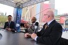 Pac-12 Networks analysts Mike Yam, Lamar Hurd and Kevin O'Neill on set in Las Vegas.