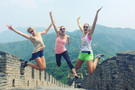 The all-stars get up for their their visit to the historic Great Wall of China.