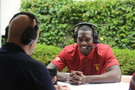 <p>USC wide receiver, Marqise Lee, gets interviewed at the Pac-12 2013 Football Media Day.</p>