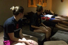 <p>Following a narrow, five-set defeat to the Chinese Junior National Team Wednesday, members of the Pac-12 squad went for some much appreciated massages Tuesday.</p>