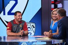 USC head coach Steve Sarkisian shares a laugh with the SportsCenter talent in Bristol, CT.