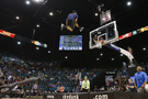 A professional slam dunk team turned Las Vegas into Dunk City at halftime of the Washington vs. Stanford opening-round game.