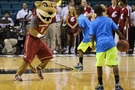 Washington State's Butch T. Cougar faces off with a worthy adversary during a break in Wazzu's contest with Cal.