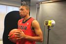 <p>Utah Utes sophomore forward Jordan Loveridge rocking his Under Armour kicks.</p>