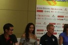USC's Samantha Bricio and Oregon coach Jim Moore appeared at a press conference Sunday evening at the Intercontinental hotel in Beijing.